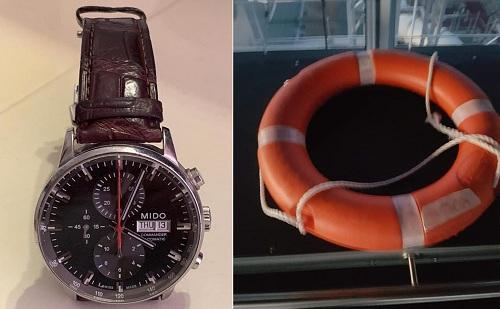 Chiếc đồng hồ và phao cứu sinh đồng hành cùng John trên biển. Ảnh:John Low.