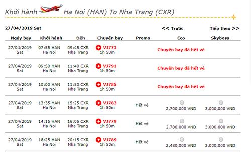 Chặng Hà Nội - Nha Trang khởi hành ngày 27/4 của Vietjet Air đã hết vé một nửa số chuyến.