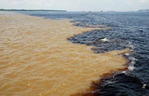 Hai dòng nước tách biệt. Hiện tượngtương tự xảy ra tại hợp lưusông Amazon và sông Tapajós gần thành phố Santarém, bang Pará (Brazil). Ảnh: LecomteB.