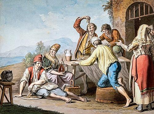 Người dân Italia bốc mì bằng tay cho vào miệng để ăn. Ảnh: National Geographic