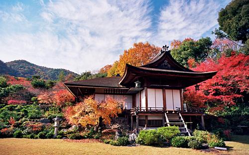 Bạn cũng có thể ghé thăm sơn trang Okochi Sanso gần đó. Điểm đặc biệt của khu vườn này là được trồng rất nhiều cây lá đỏ và cây anh đào, khuôn viên của sơn trang có thể nhìn toàn cảnh khu phố Kyoto và núi Hiei-zan từ xa. Thời điểm thích hợp nhất để tham quan sơn trang là vào mùa thu hoặc mùa xuân. Ảnh: Edward Kim/Flickr.