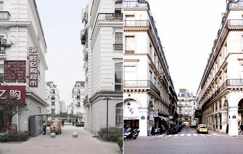 Sự giống nhau giữa hai thành phố (Paris bên phải, Tianducheng bên trái)