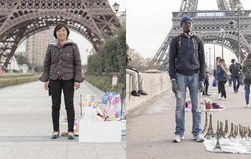 Người bán hàng rong ở Paris nhái (ảnh trái) và Paris xịn (ảnh phải). Ảnh: Amusing Planet.