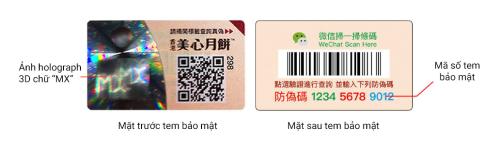 Kiểm tra sản phẩm tem bảo mật riêng cùng mã QR ngay trên hộp bánh.