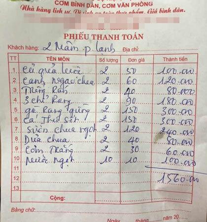 Hóa đơn 2 mâm 15 khách có giá gần 1,6 triệu đồng, ngồi ăn phòng VIP tại khách sạn của chị Linh bị khách cho là giá cả đắt đỏ. Ảnh: NVCC.