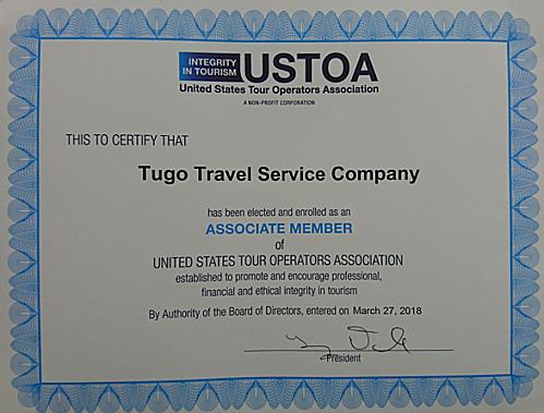 Tugo nhận giấy chứng nhận thành viên Hiệp hội Điều hành tour Mỹ. Ảnh Tugo.