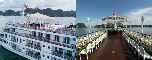 Đám cưới trên du thuyền Paradise Elegance ở vịnh Hạ Long dành cho 70 khách. Phong cách trang trí độc đáo từ 7799 wedding storyteller trên boong tàu mang đến nhiều trải nghiệm, vừa mới lạ, vừa sang trọng.