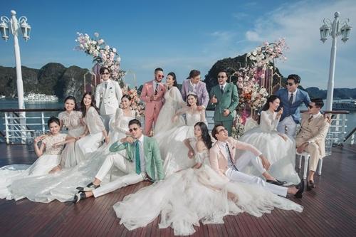 Bộ ảnh cưới lãng mạn với gam pastel trên du thuyền Paradise. Những mẫu vest với tông màu pastel chủ đạo trong bộ sưu tập mới nhất của the Tuxedo.