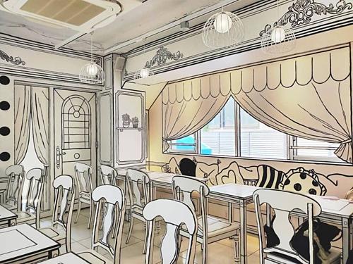 2D-Cafe nằm ở khu phố Shin Obuko, Tokyo đang trở thành một trong những quán cà phê nổi tiếng nhất ở thủ đô Nhật Bản nhờ cách bài trí độc đáo, khác lạ. Thực khách tới đây sẽ có cảm giác mình đang lạc bước vào thế giới truyện tranh.