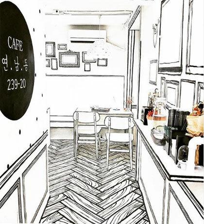 Ý tưởng của quán được lấy cảm hứng từ bộ phim W-Two Worlds (Hai thế giới) do Lee Jong Suk và Han Hyo Joo thủ vai. Bộ phim này là một trong những tác phẩm ăn khách của truyền hình Hàn Quốc 2016.