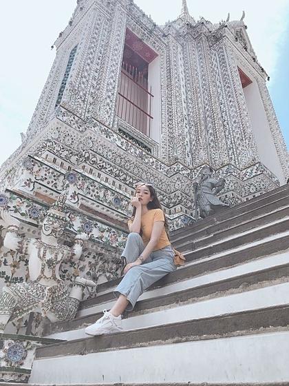 Băng Châu trong chuyến du lịch nước ngoài đầu tiên tại Thái Lan.
