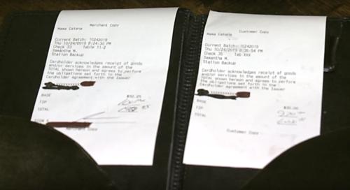 Tờ hoá đơn hết tổng cộng 122 USD của vị khách bí ẩn. Ảnh:Fox18.