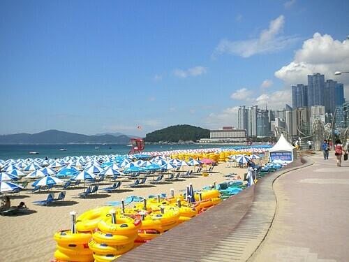Bãi biển ở Busan. Ảnh: Bethan Currie.