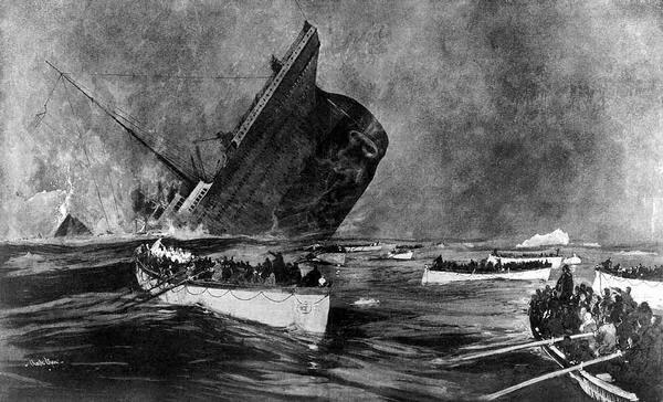 Những phút cuối cùng của Titanic. Ảnh: Charles Dixon/Wikipedia.
