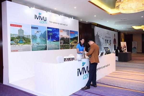 Gian hàng của iViVu tham dự Diễn đàn Cấp cao Du lịch lần thứ nhất 2018. Ảnh: Giang Huy.