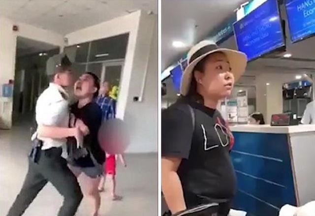 Khi bị mời về làm việc tại văn phòng Cảng vụ, bà Hiền tiếp tục to tiếng và gây thương tích cho một nhân viên an ninh. Ảnh trích từ video.
