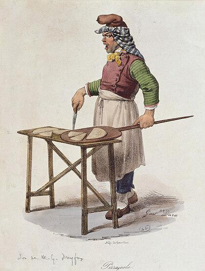 Bức vẽ mô tả một người bán pizza ở Napoli vào thế kỷ 19. Ảnh: History Today.