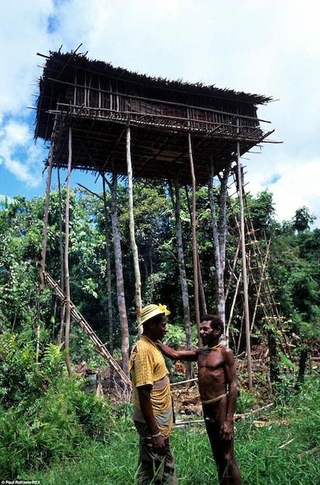 Boas (trá), một người Korowai, rời cụm nhà trên cây để sống trong làng định cư Yaniruma vào năm 2006. Ảnh: Paul Raffaele.