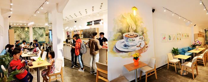 YUSA sở hữu không gian cửa hàng thoáng đáng, sạch sẽ, thoảng mùi tinh dầu giúp thực khách cảm thấy thoải mái, dễ chịu và thư giãn. Ngoài ra, sự tỉ mỉ, tinh tế trong cách thiết kế bày trí mang đến phong cách trẻ trung cho YUSA.