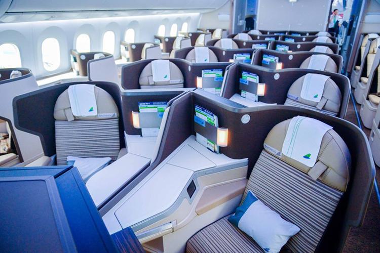 Nội thất bên trong tàu bay Boeing 787 mới khai thác của Bamboo Airways. Ảnh:Bamboo Airways.