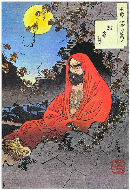 Bồ-đề-đạt-ma9 năm diện bích. Ảnh: Tsukioka Yoshitoshi.