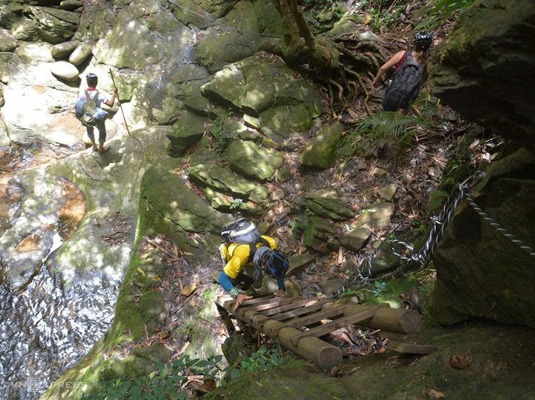 Bạn có thể đi theo tấm biển chỉ dẫn xuống chân thác với gần 700 bậc thang tận mắt chiêm ngưỡng vẻ hùng vĩ của ngọn thác này. Con đường rừng có nhiều đoạn băng suối được trang bị dây bảo hộ và những cây cầu chắc chắn, du khách sẽ dễ dàng vượt qua. Ảnh: Thanh Tuyết