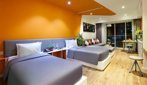 3. Căn hộ Hill Studio có diện tích khoảng 50 m2 được bố trí 1 giường đôi và 1 giường sofa