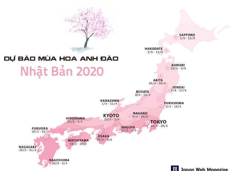 Bản đồ dự báo mùa hoa anh đào năm 2020 trên toàn nước Nhật.