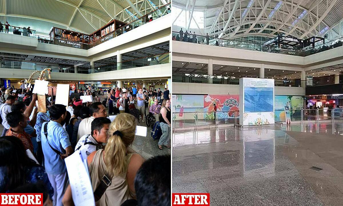 Sân bay Bali trước (trái) và sau khi đại dịch bùng phát. Ảnh:Kania Bali Tour.