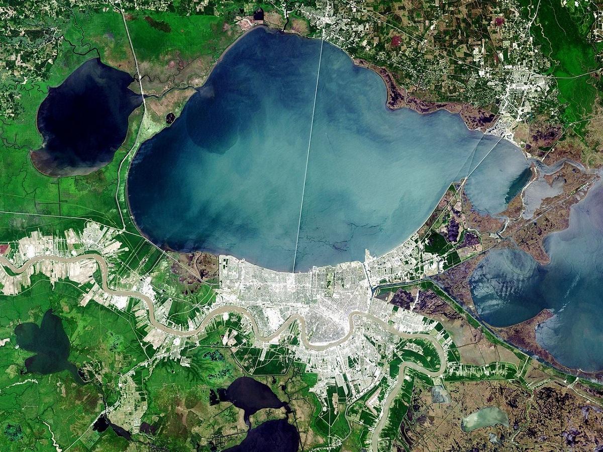 HồPontchartrain rộng khoảng 1.630 km2. Ảnh: NASA.