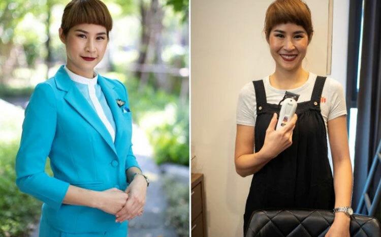 Thawanan Thawornphatworakul trong đồng phục tiếp viên (ảnh trái) và khi là bà chủ cửa hàng cắt tóc nhỏ của hiện tại. Ảnh: Reuters.