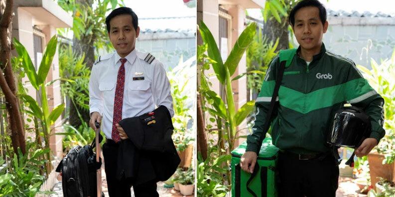 Rattanasopon trong đồng phục tiếp viên hàng không và nhân viên giao hàng. Ảnh: Reuters Bangkok.