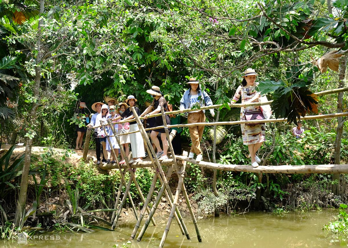 Du khách đi cầu khỉ ở Cồn Sơn. Ảnh: Khánh Trần.