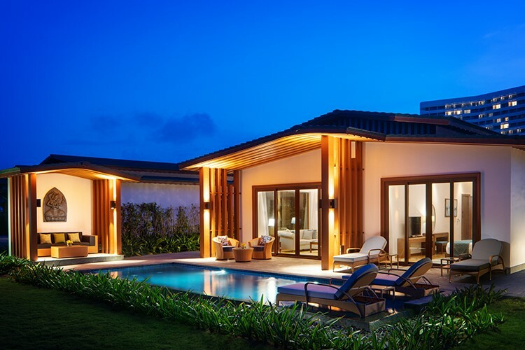 Villa tại resort lấy cảm hứng từ văn hóa Chăm Pa.
