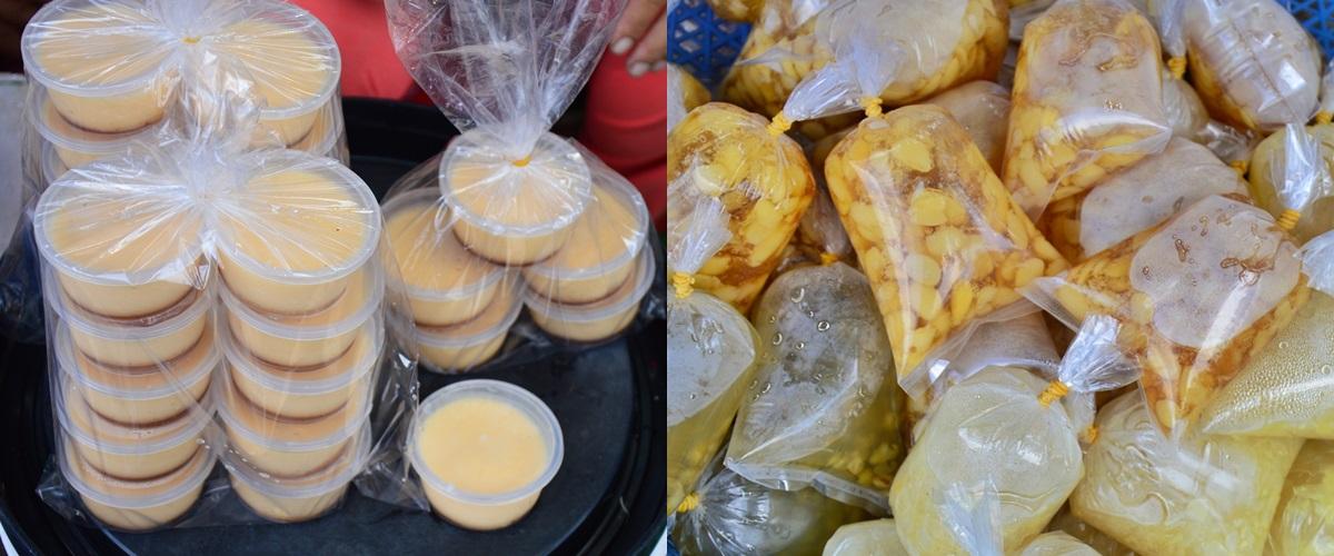 Bánh flan (trái) ở chợ Đông Ba, chợ Cống... có giá 4.000 đồng một hộp. Mếu mua một lần 10 hộp, bạn sẽ được giảm còn 35.000 đồng (tùy người bán). Các lại chè bì có giá 3.000 đồng, có ở khắp các chợ, gồm chè đậu ván, đậu xanh, chè bắp...