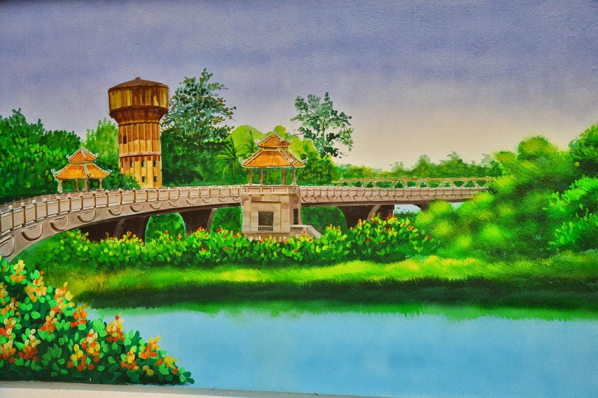 Cầu Dã Viên nhìn từ hướng đường Bùi Thị Xuân uốn lượn quanh dòng Hương.