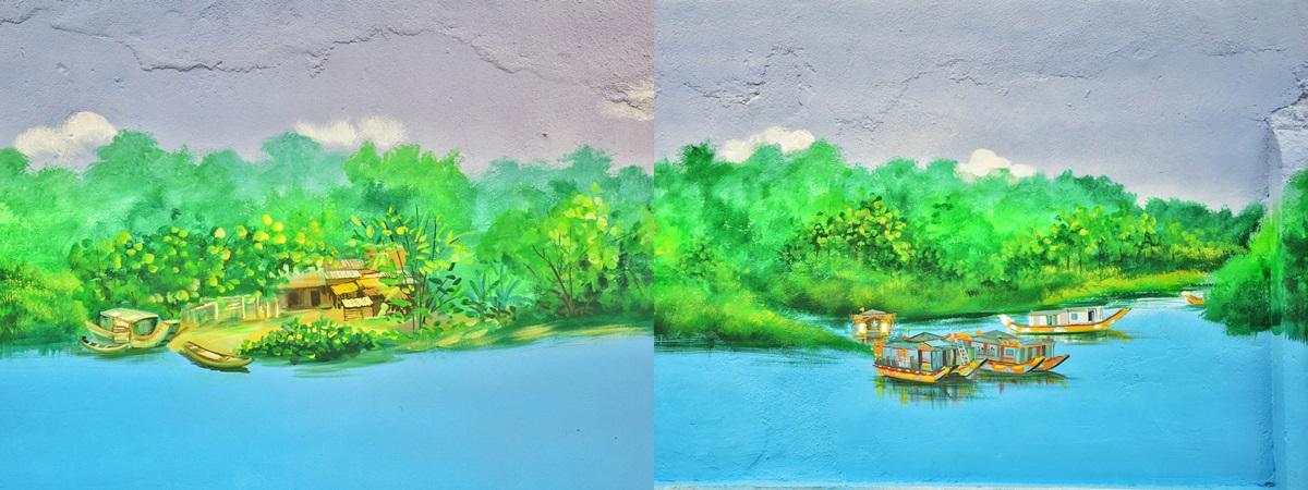 Vẻ đẹp nên thơ, bình yên của những nóc nhà ven sông Hương được tái hiện lại qua nét vẽ giản dị.
