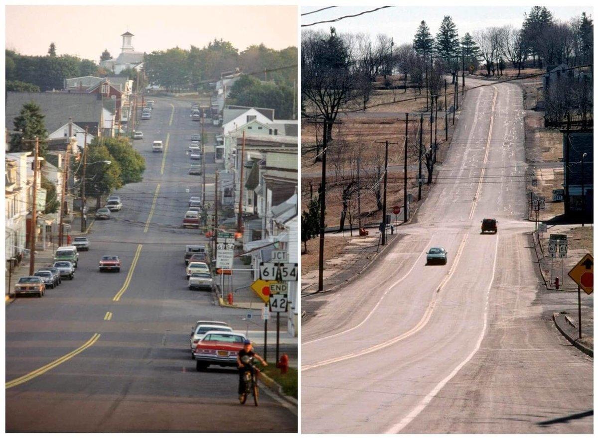 Đại lộ Locust, con phố chính tại Centralia, Pennsylvania vào tháng 10/1983 và vào tháng 6/2000. Ảnh: David Dekok/Reuters.