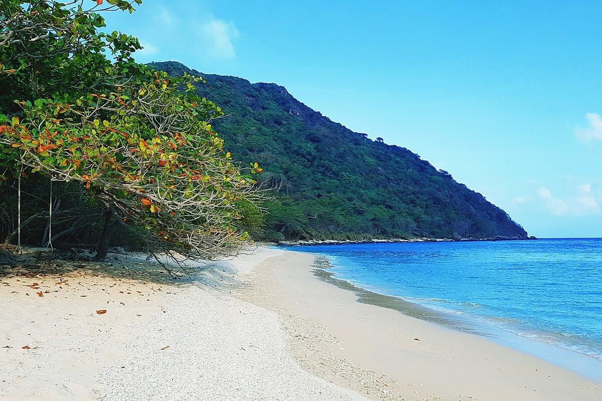 Biển ở Côn Đảo xanh trong và lặng sóng.
