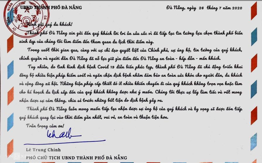 Bức thư của lãnh đạo TP Đà Nẵng