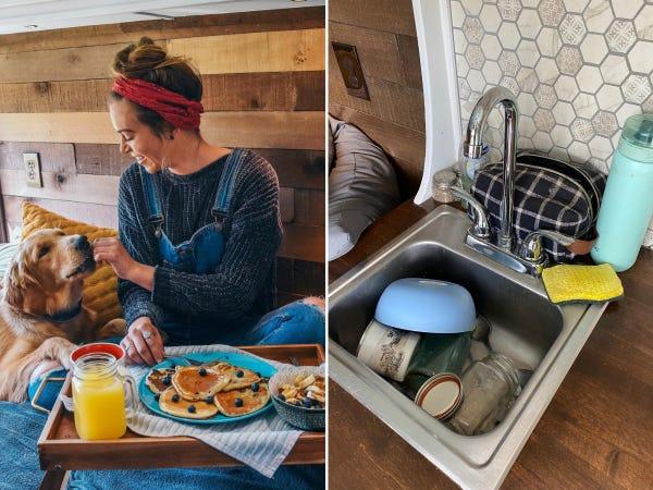 Ảnh đồ ăn xinh đẹp gọn gàng đăng mạng xã hội và ảnh bát đĩa chưa rửa còn để trong bồn. Ảnh: Instagram.