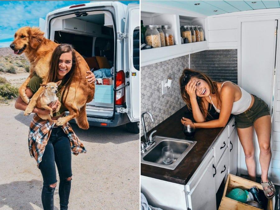 Ferbranche bên chiếc xe van chỉ rộng 6 m2 của mình. Ảnh: Instagram.