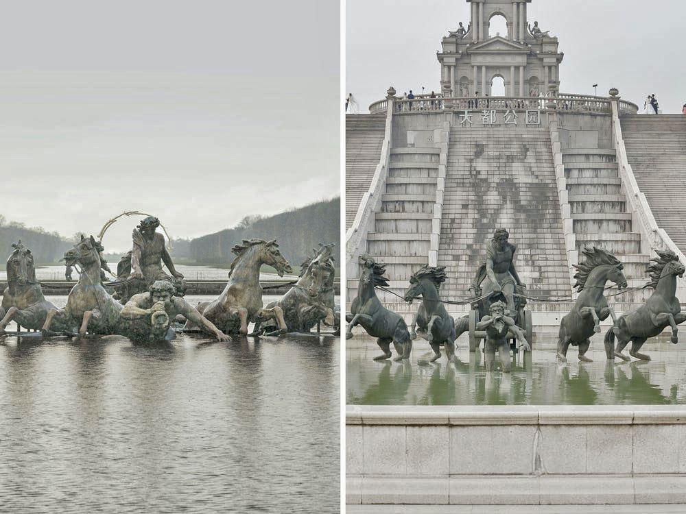 Ngồi trong căn hộ thuê trên Airbnb và nhìn ra tháp Eiffel ở Trung Quốc cũng là trải nghiệm kỳ lạ với nhiếp ảnh gia. Trong các bức ảnh anh đặt cạnh nhau để so sánh sự khác biệt, các tác phẩm gốc chụp tại Paris luôn nằm bên trái, còn ở Hàng Châu nằm ở bên phải.