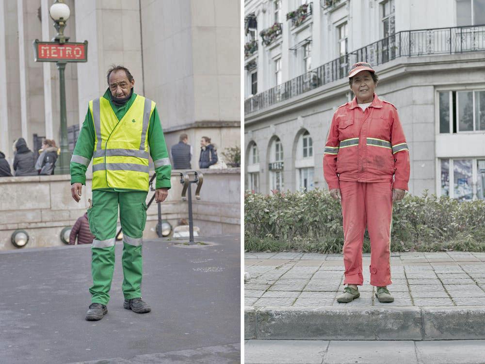 Trên ảnh là một công nhân ở Paris (trái) và ở Sky City (phải).