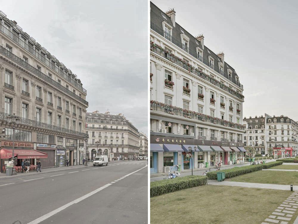 Anh cho biết có ba khu vực chính ở thành phố nhái trông giống Paris, đó là tháp Eiffel, điện Versailles và các đại lộ với những tòa nhà mô phỏng kiến trúc châu Âu. Với tư cách là dân thổ địa ở Paris, anh có thể dễ dàng nhận ra sự khác biệt. Nhưng với những người không sống ở Paris, nhiếp ảnh gia tin rằng họ sẽ khó có sự phân biệt chính xác đâu là Paris của Pháp và Paris ở Trung Quốc.