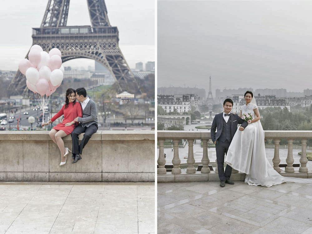 Khu vực nhìn ra tháp Eiffel thật và giả cũng luôn có nhiều cặp đôi đến chụp ảnh cưới hoặc lưu niệm.