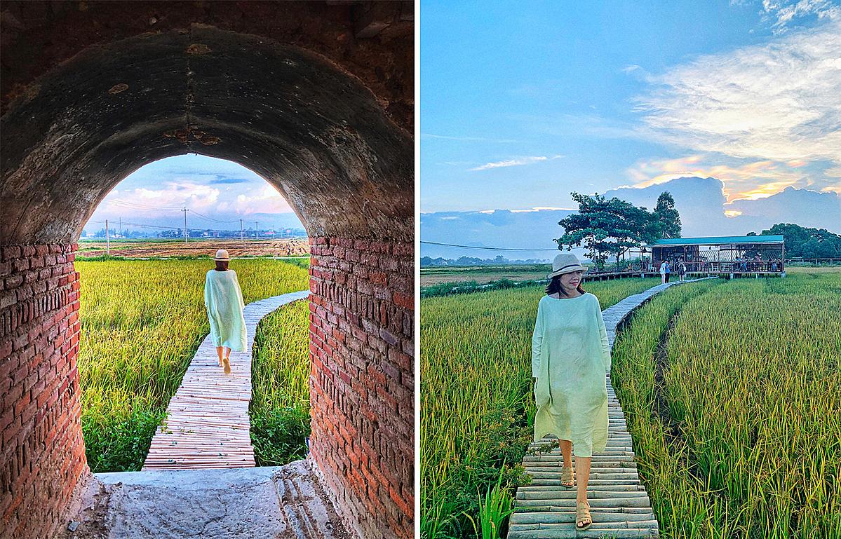 Từ lò gạch có một con đường tre uốn lượn chạy qua cánh đồng lúa nối tới quán cà phê Lò Gạch Cũ do một cặp đôi Thái Lan - Việt Nam thuê đất dựng nên.