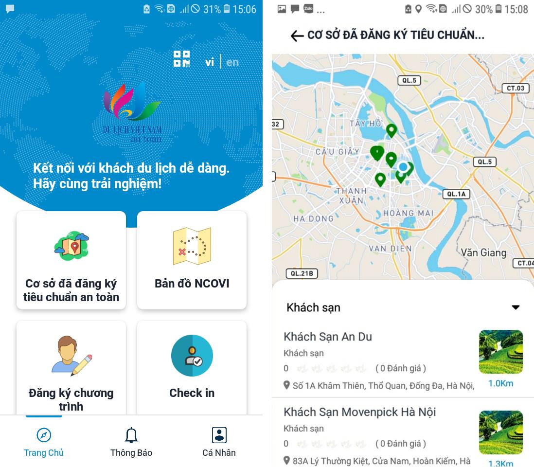 Ứng dụng Du lịch Việt Nam an toàn. Ảnh: Tổng cục Du lịch