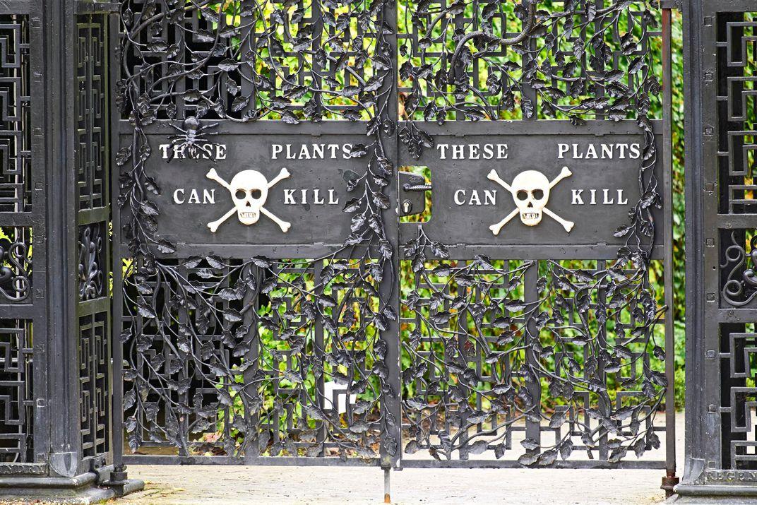 Lời cảnh báo dành cho khách tham quan chạm khắc ngay trên cổng khu vườn độc dược. Ảnh: Duncan Andison/Corbis
