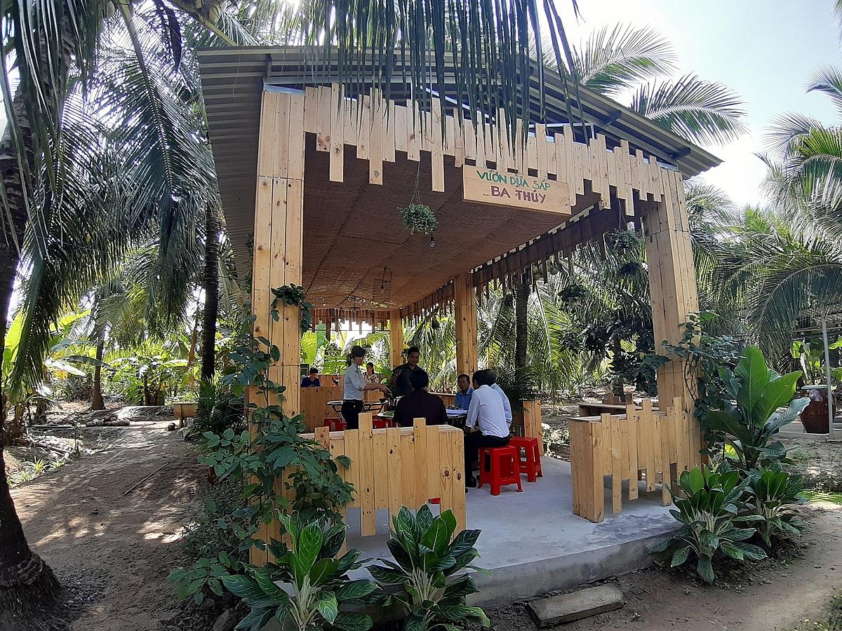 Vườn dừa sáp Ba Thúy ở huyện Cầu Kè là điểm nhất định bạn phải ghé để thưởng thức đặc sản Trà Vinh.